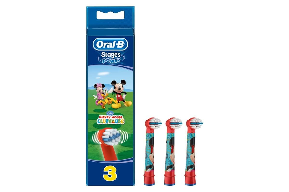 New Braun Oral-B 3x Replacement Brush Heads Stages Power Mickey Mouse 91027171