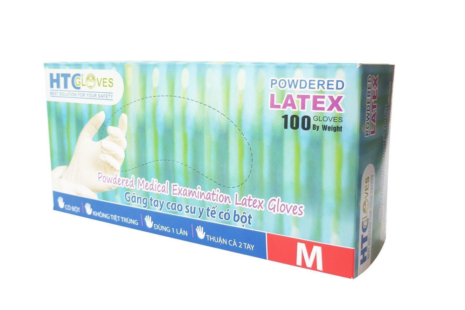 HTCGloves Medical Handschuhe Latex Pulver Größe M 100 Stck